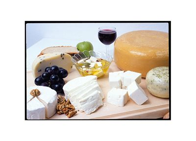 Picture Of Different Cheese And Wine