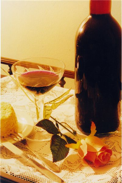 Picture Of Rose Wine And Cheese